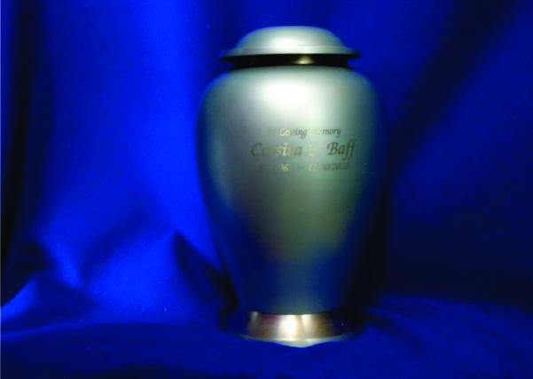 Blue Urn Engraved